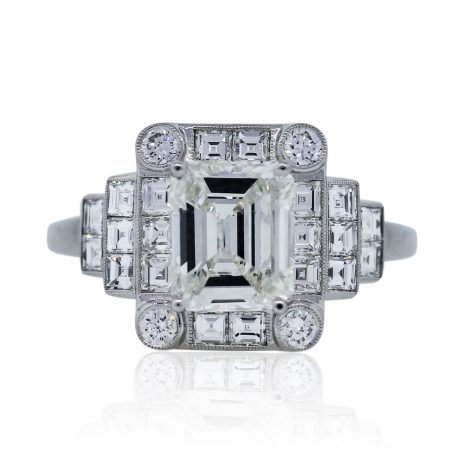 Emerald Cut Art Deco Engagement Ring