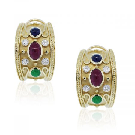 Yellow Gold Gemstone Diamond Earrings
