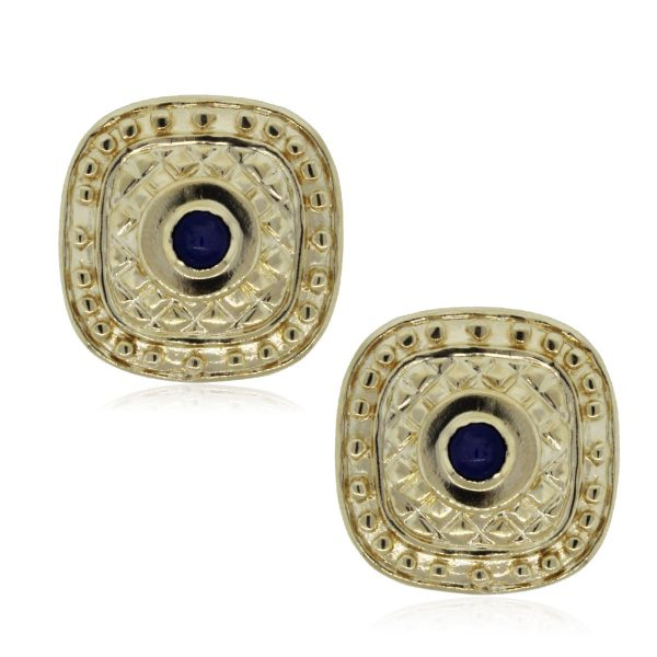 Yellow Gold Sapphire Button Earrings