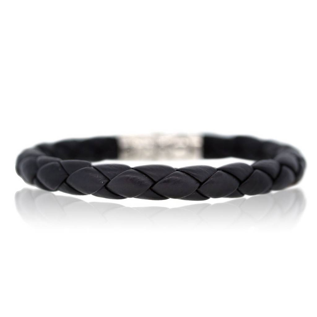 John Hardy Kali Black Leather Collection Mens Bracelet