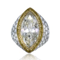 Platinum & 18k Yellow Gold 7.22 Carat Marquise Cut Pave Set Engagement Ring
