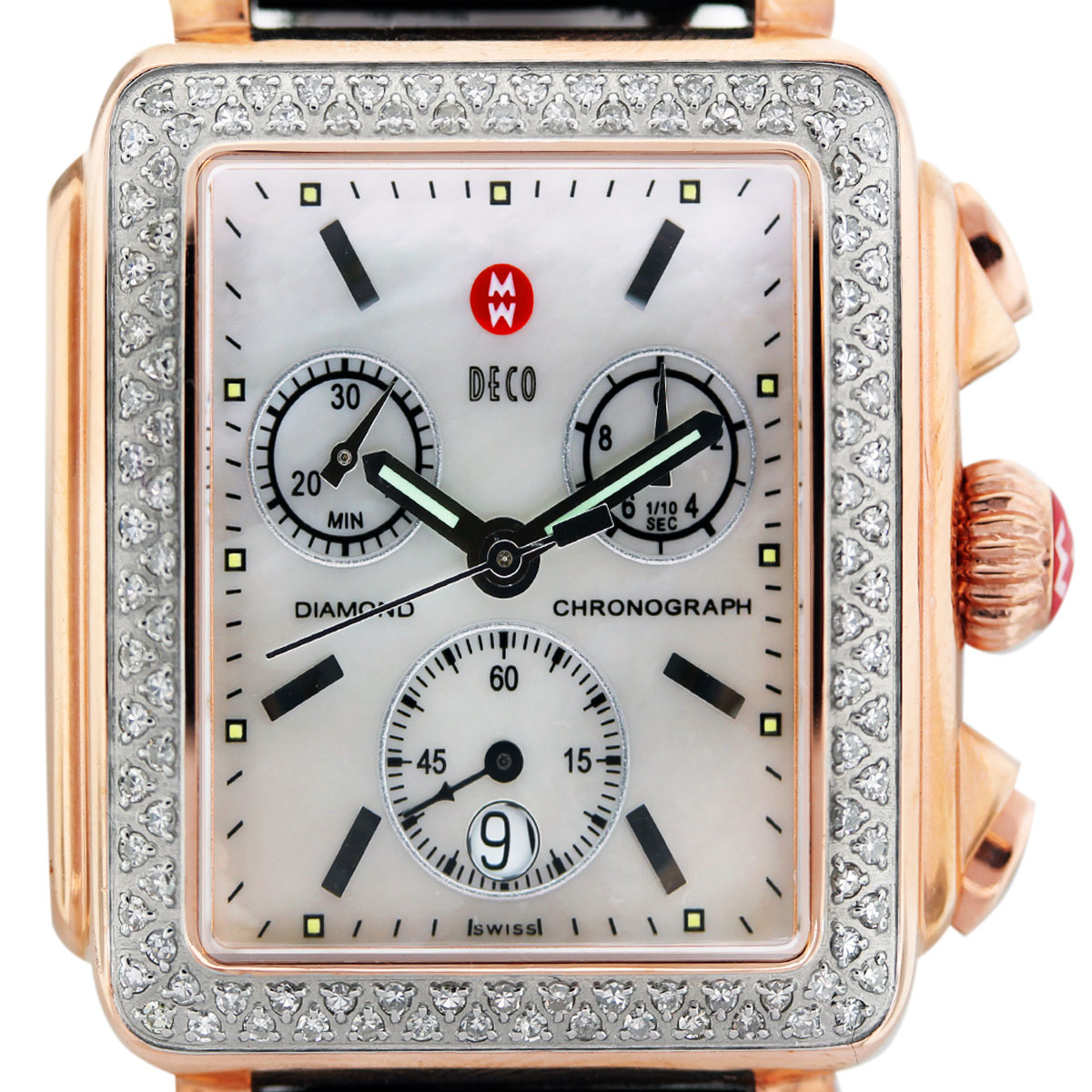 Michele Rose Gold Diamond Deco Mother of Pearl Ladies Watch