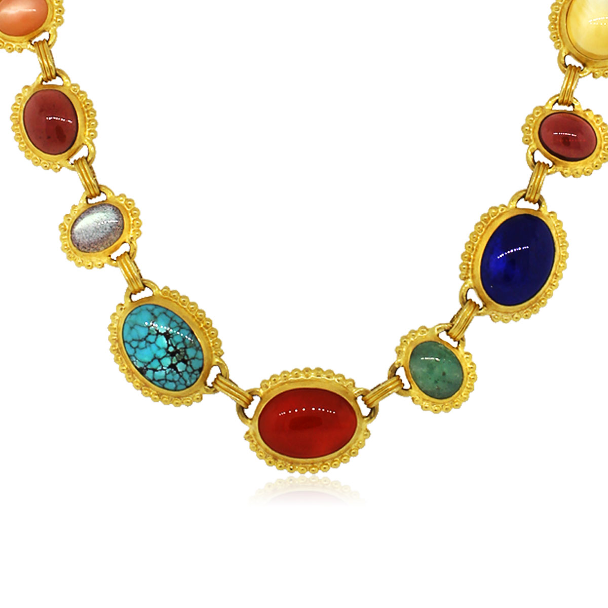 24k Yellow Gold Gurhan Afghan Necklace