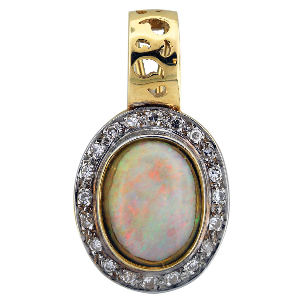 14k Yellow Gold Diamond and Opal Enhancer Pendant