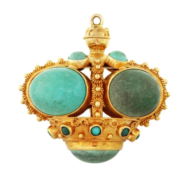 18kt Yellow Gold Large Turquoise Vintage Charm
