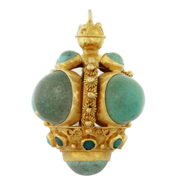 18kt Yellow Gold Large Turquoise Vintage Charm South Florida