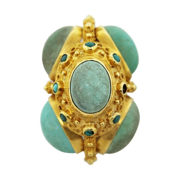 18kt Yellow Gold Large Turquoise Vintage Charm & Pendant