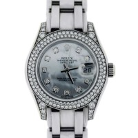 Rolex White Gold Pearlmaster 80359 Mother of Pearl Dial Diamond Watch