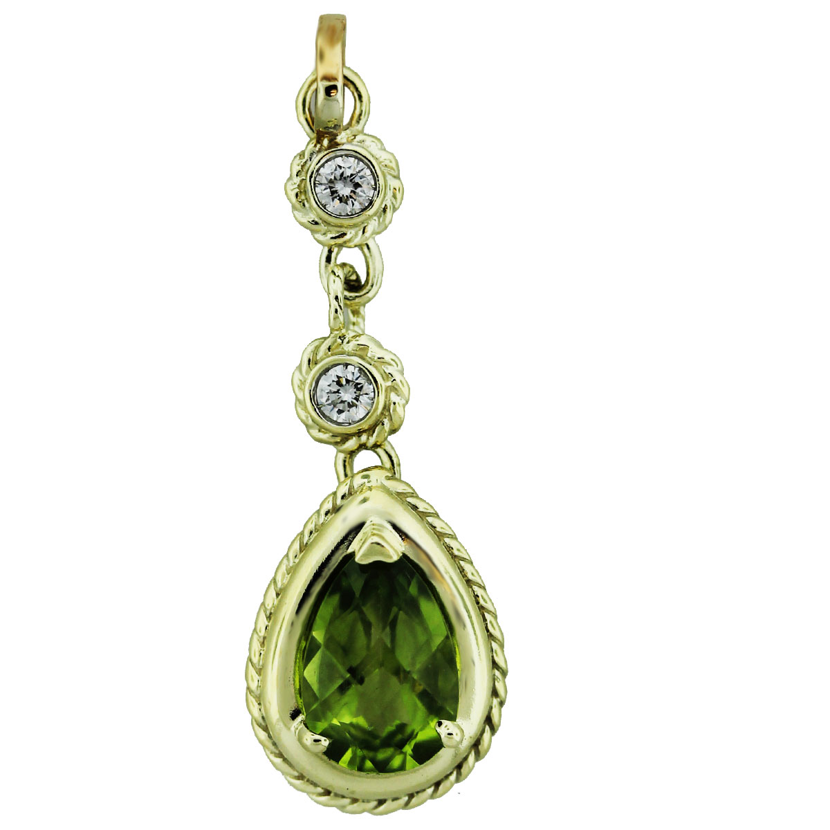 14k Yellow Gold Pear Shape Peridot & Diamond Pendant
