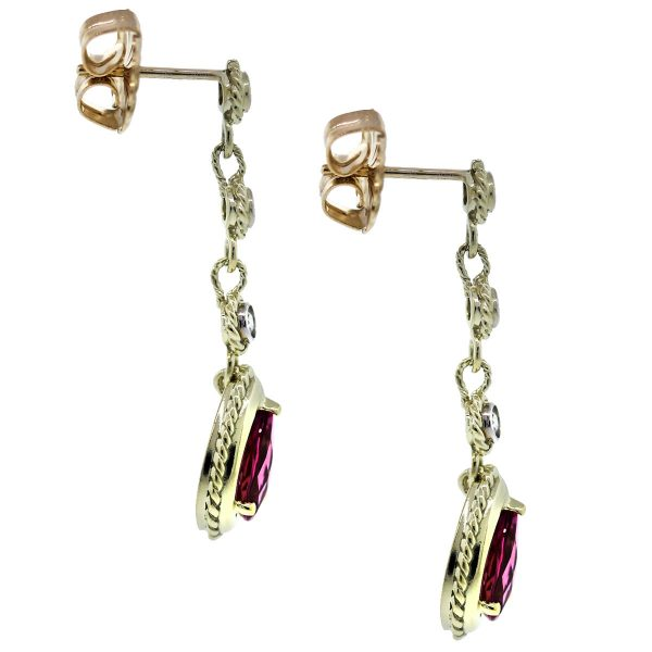 Estate Tourmaline Pink Gemstone Drop Earrings