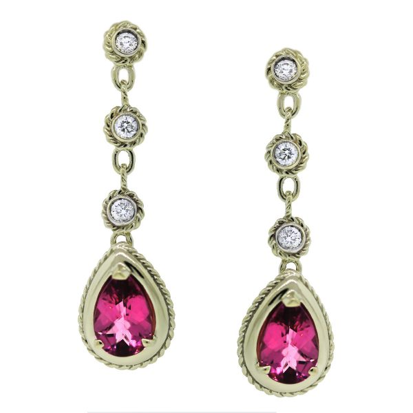 Pink Tourmaline Gemstone and Diamond Earrings
