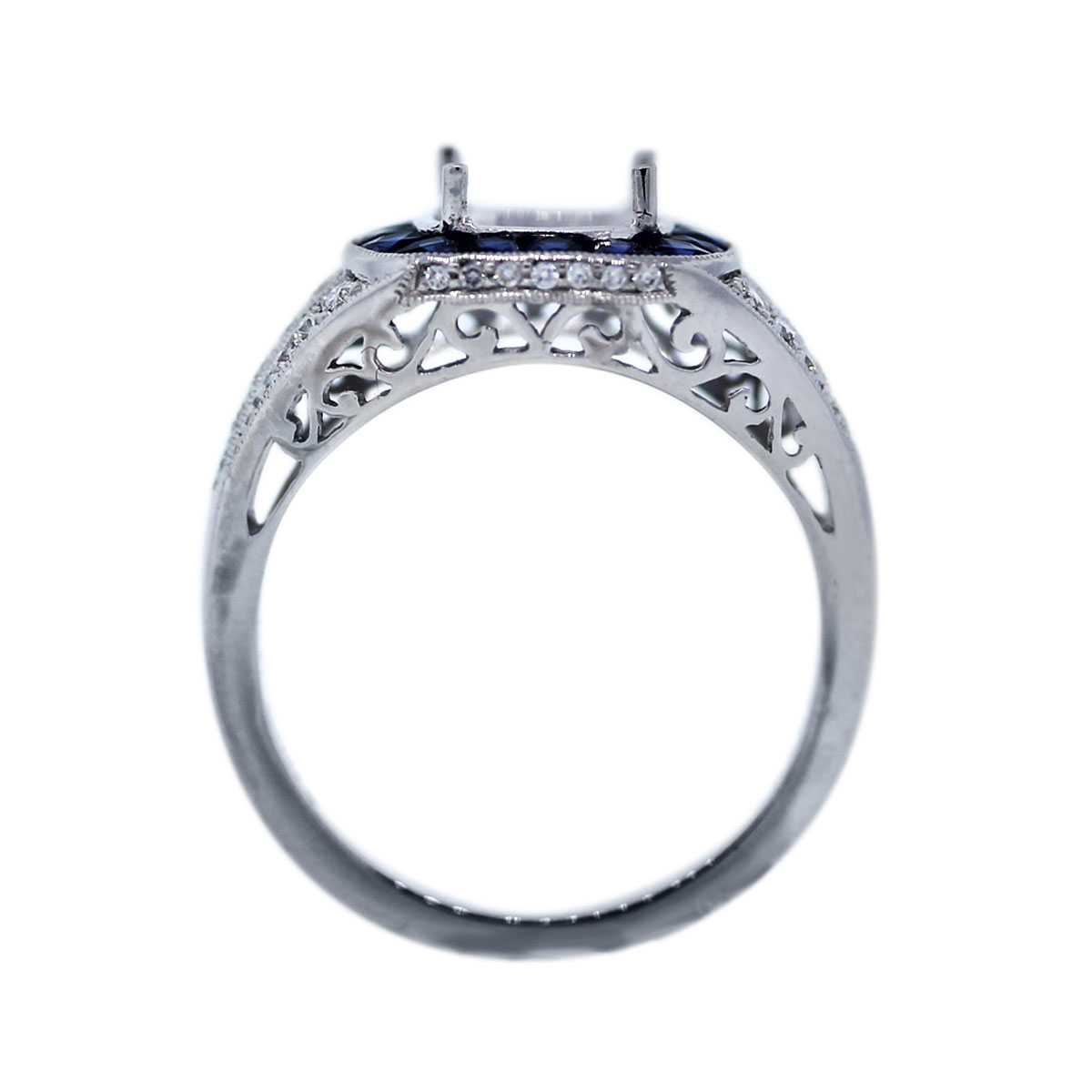 Diamond and Sapphire Four prong Setting