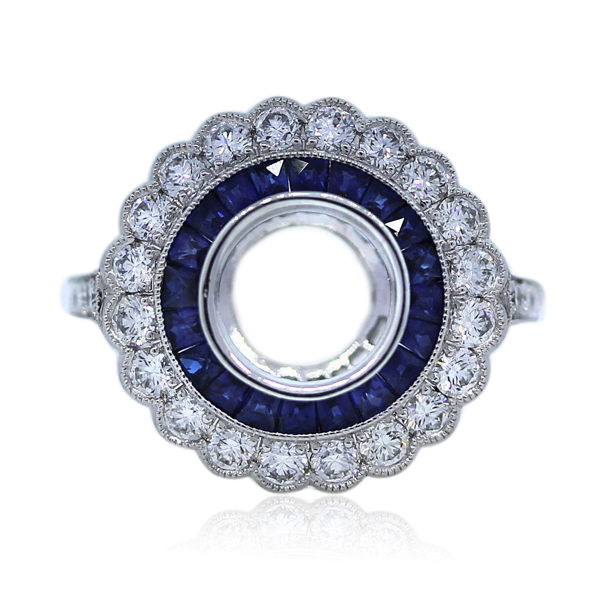 Art Deco Diamond and Sapphire Engagement Ring Mounting