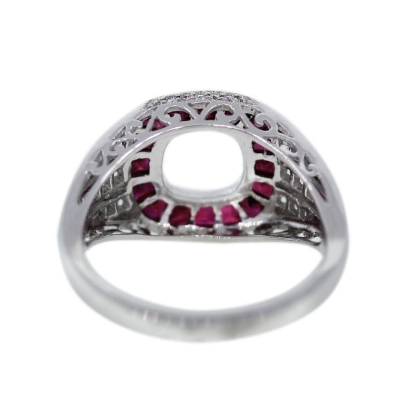 Art Deco Inspired Ruby and Diamond Mounting