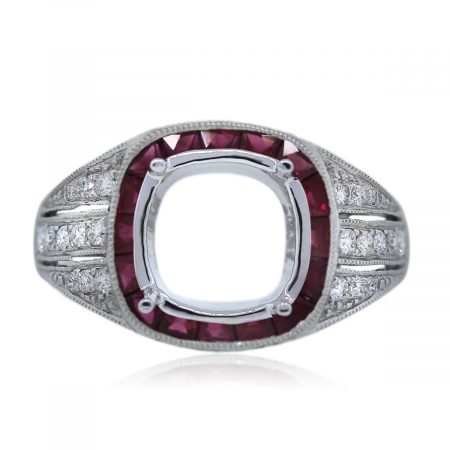 Four Prong Platinum and Gemstone Setting