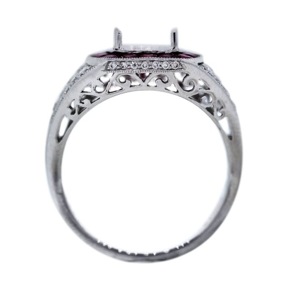 Diamond and Ruby Four Prong Setting