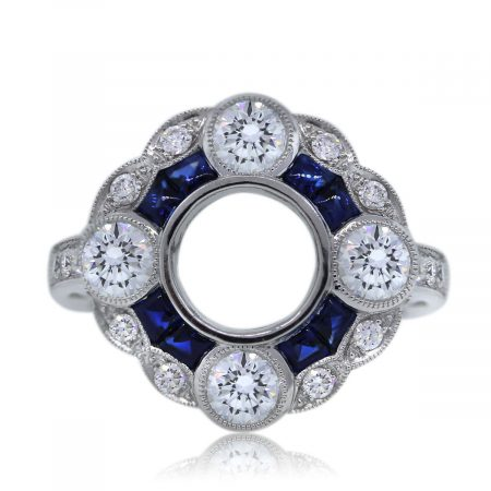 Platinum Diamond and Sapphire Mounting