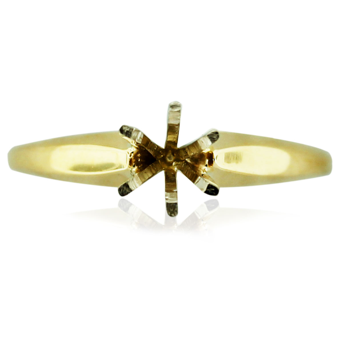 14k Yellow Gold 6 Prong Solitaire Engagement Ring Mounting