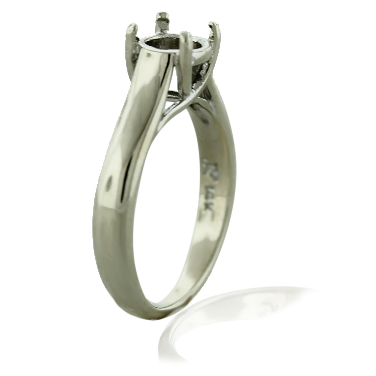 14k White Gold Solitaire 4 Prong Engagement Ring Mounting Boca Raton