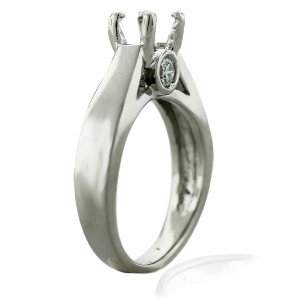 18kt White Gold Solitaire Diamond Engagement Ring Mounting Boca Raton