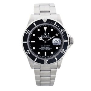 Pre owned black Rolex Submariner 16610 Stainless Steel Mens Watch