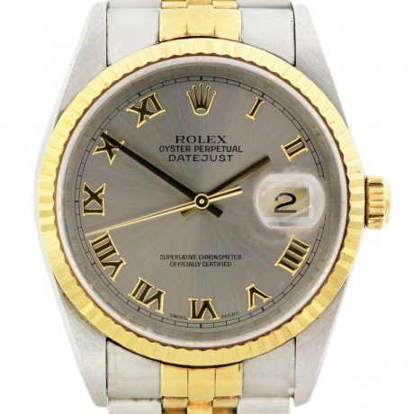 Rolex Datejust 16233 Two Tone Steel Roman Dial Jubilee Watch