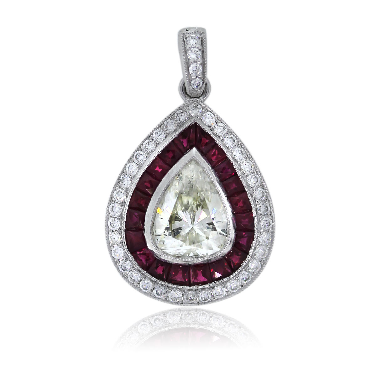 Estate Ruby Pendant with Pear Shaped Diamond