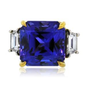 Platinum and 22k Gold 9.77Ct Tanzanite and Diamond Cocktail Ring