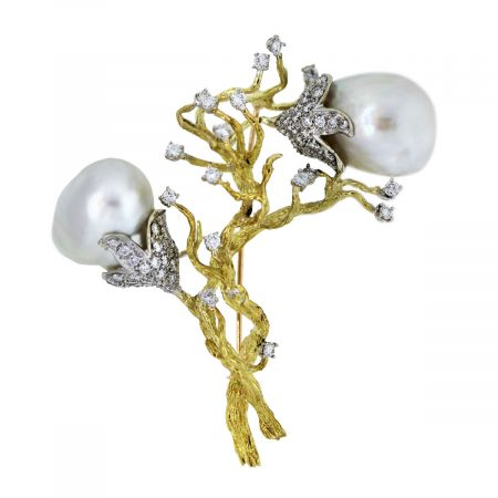yellow gold diamond and baroque south sea pearl