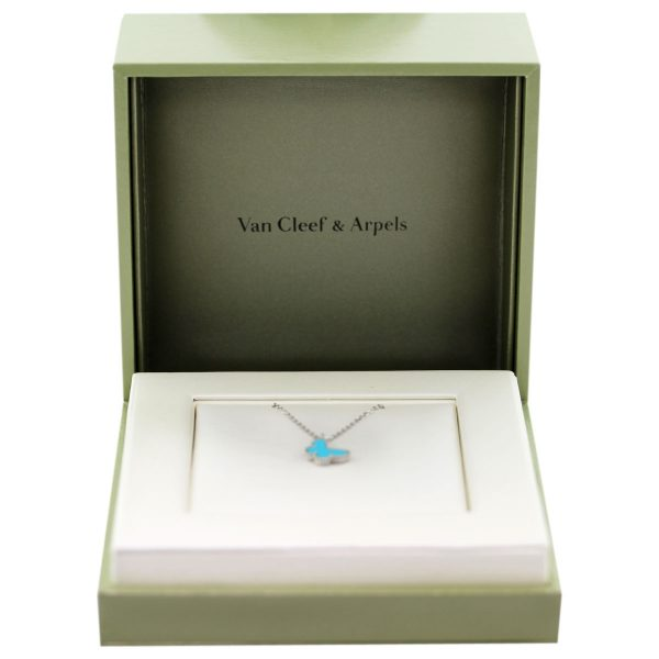 Van Cleef & Arpels White Gold Turquoise Mini Sweet Alhambra Butterfly Necklace Boca Raton