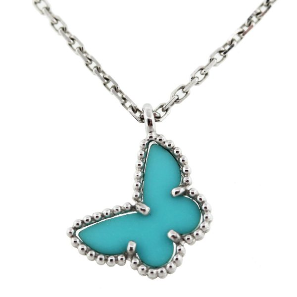 Van Cleef & Arpels White Gold Turquoise Mini Alhambra Butterfly Necklace