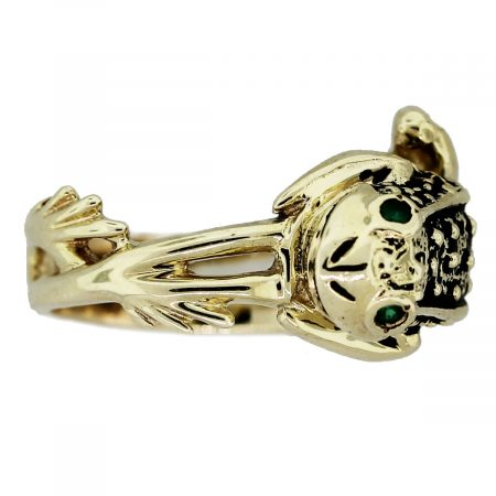Vintage 14kt Yellow Gold Emerald Eyes Frog Ring