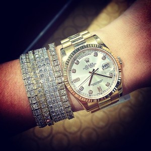 Rolex Rose gold Day-Date with diamond bracelets