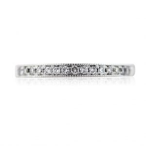 14K White Gold Thin Diamond Ladies Wedding Band