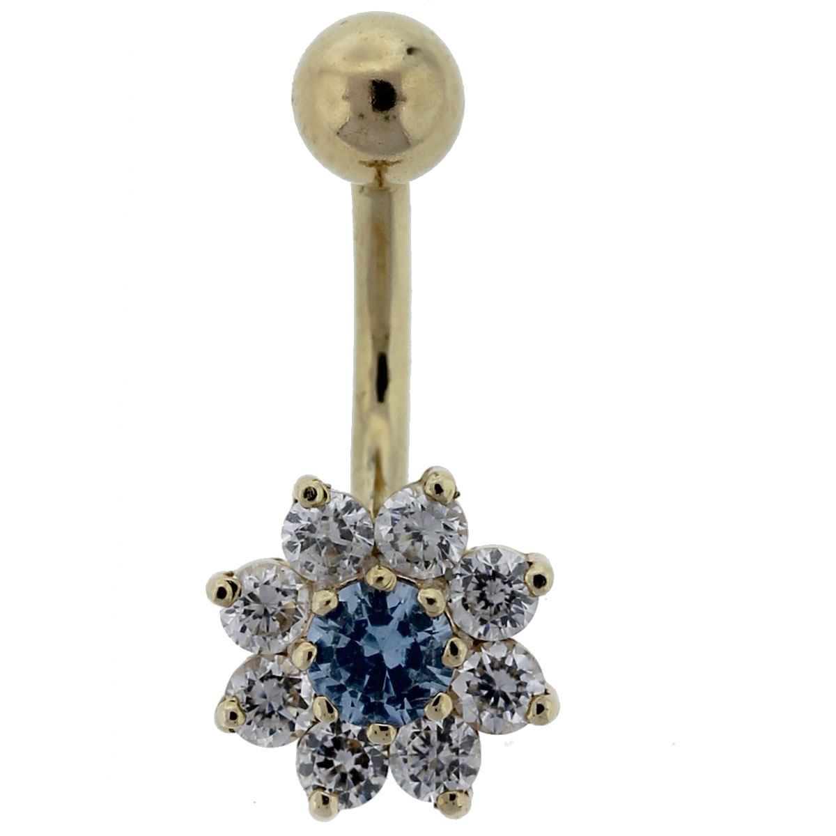 14kt Yellow Gold White & Blue CZ Flower Belly Button Ring