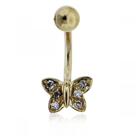 Diamond and Gold Butterfly Belly Ring