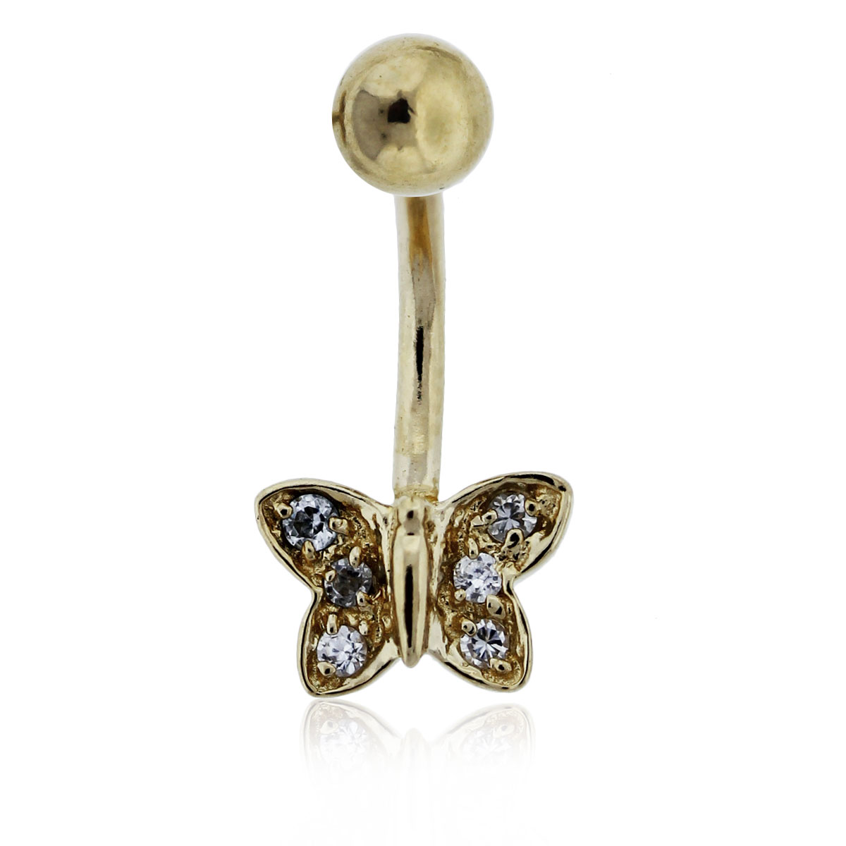 14k yellow gold and diamond butterfly belly button ring