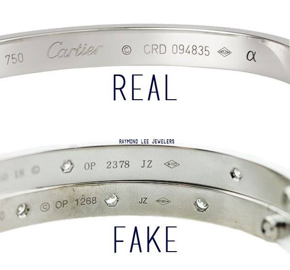 cartier sa stamp on two fake love bangles and one authentic white gold cartier love bracelet