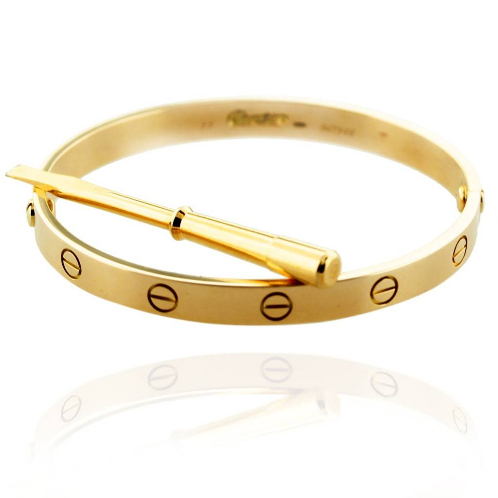 Cartier Yellow Gold Love Bangle Pre Owned with Screwdriver
