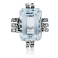 Palladium Aquamarine & Diamond Cocktail Ring