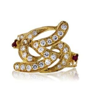 22k Yellow Gold Diamond and Ruby Ring