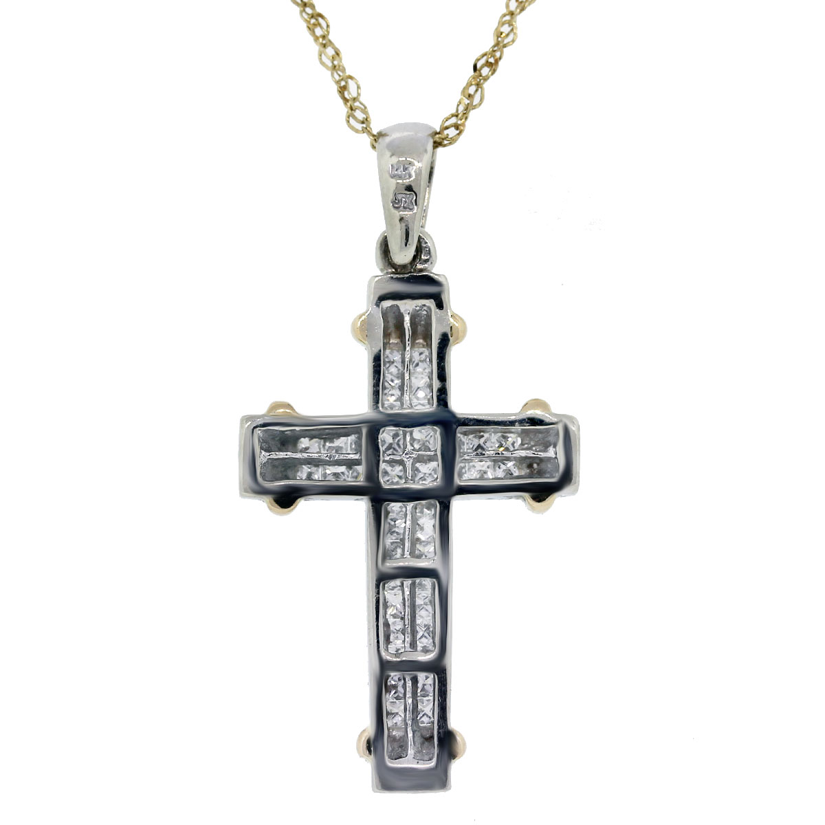 14k Two Tone Princess Cut Diamond Cross Pendant w/ Chain Back