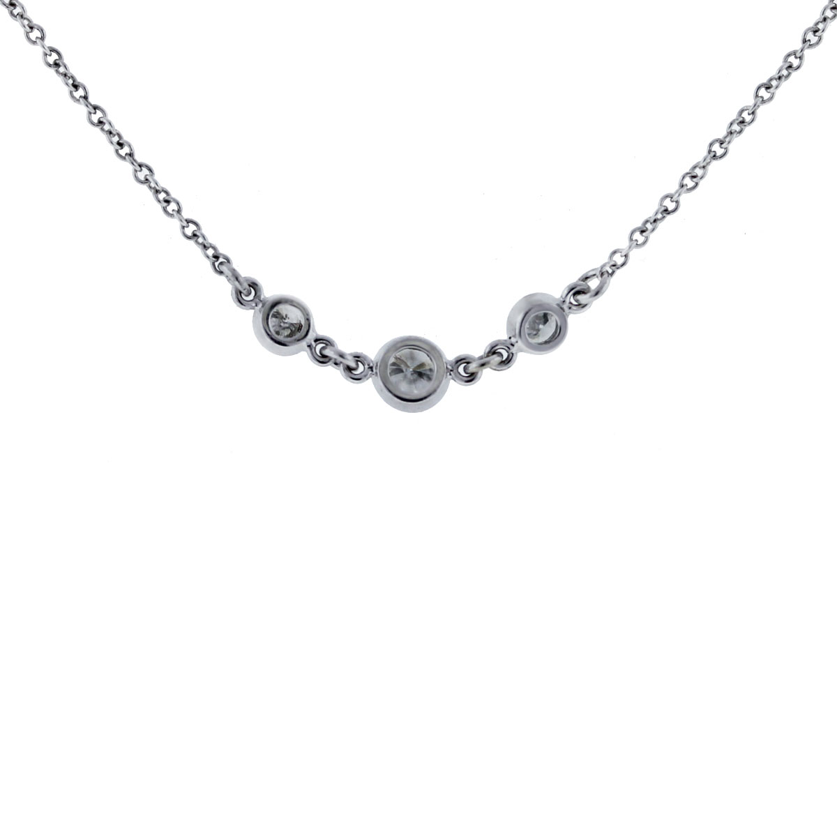 14k White Gold Diamonds By The Yard Necklace close up
