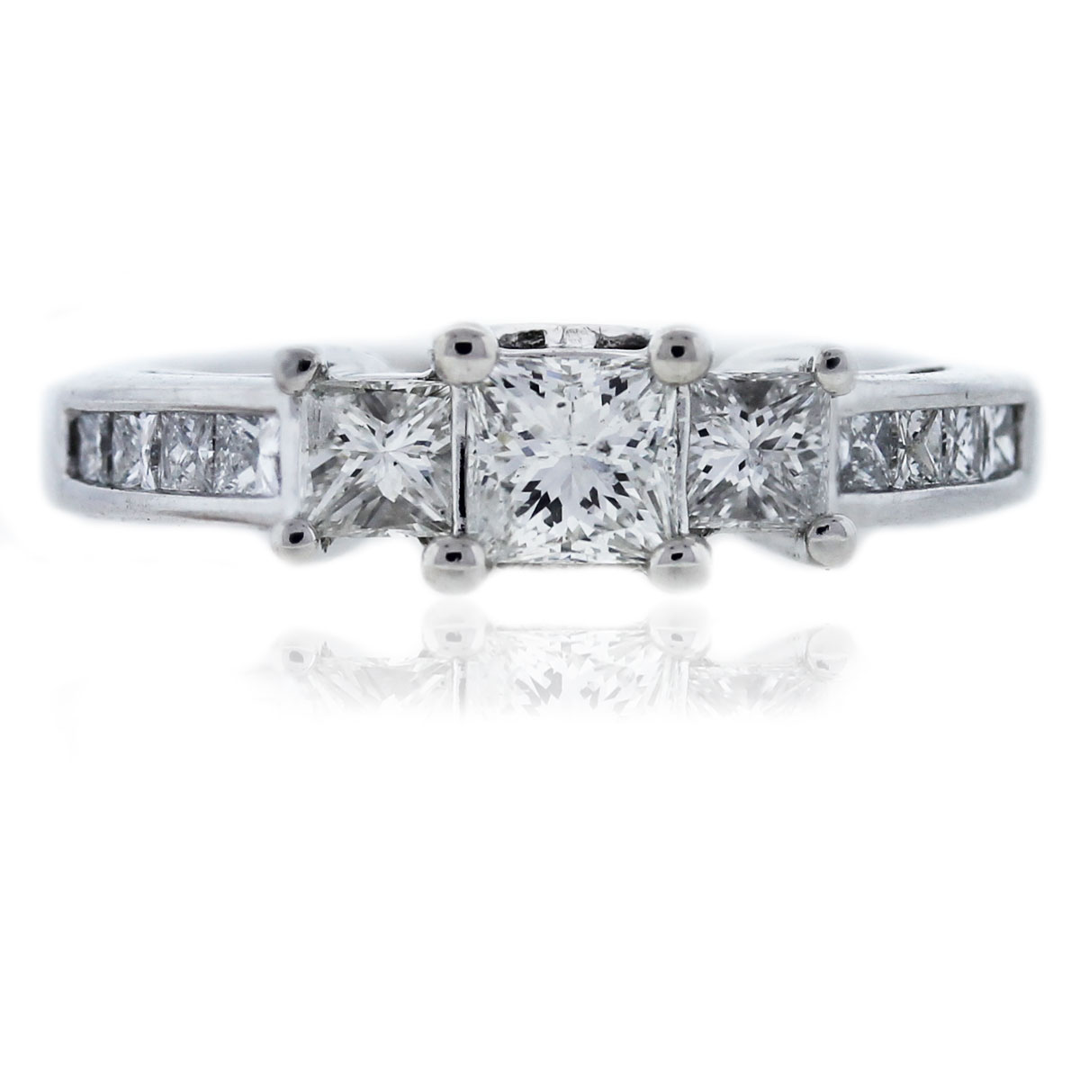 14kt White Gold Princess Cut Three Stone Diamond Engagement Ring