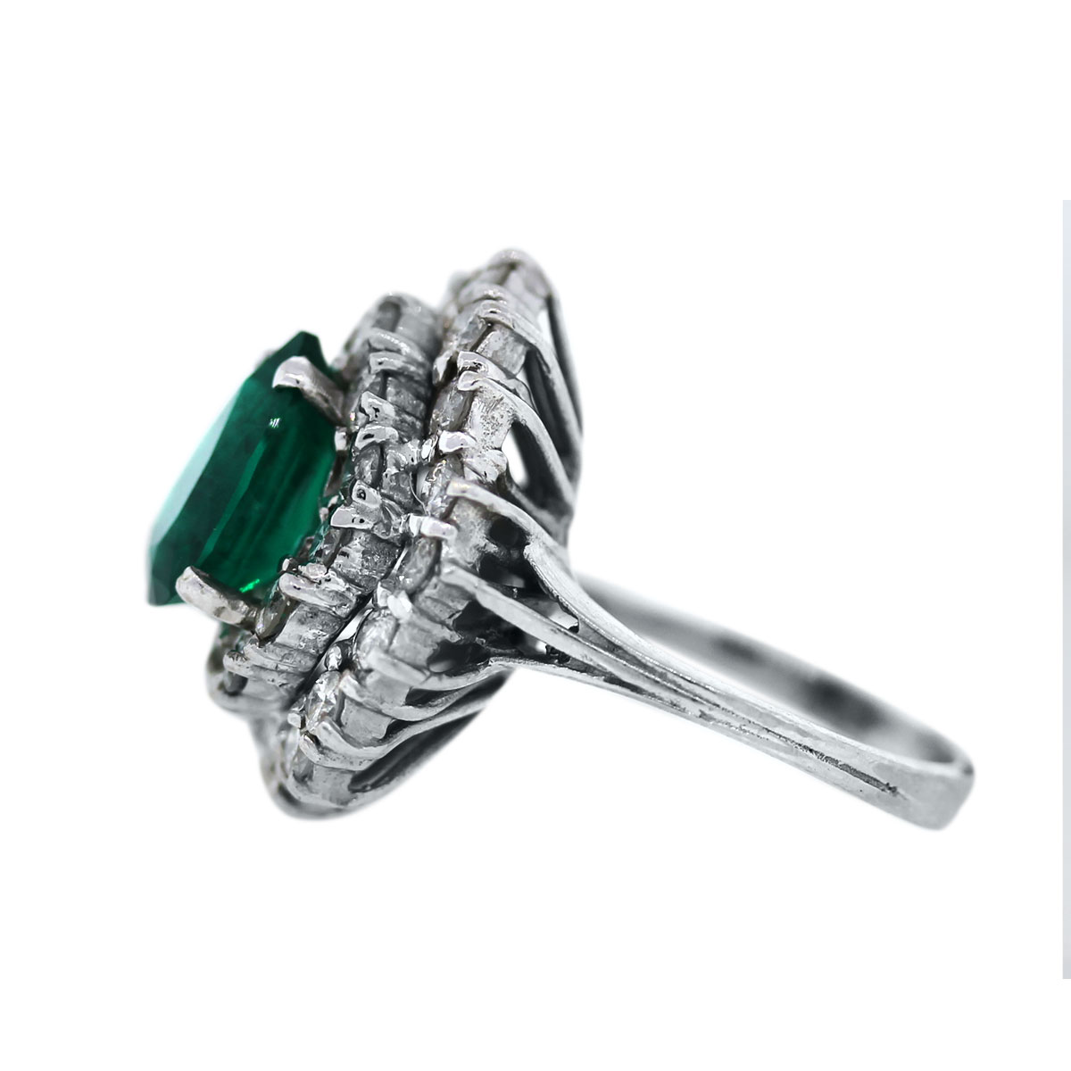 14K White Gold Diamond and Emerald Cluster Ring