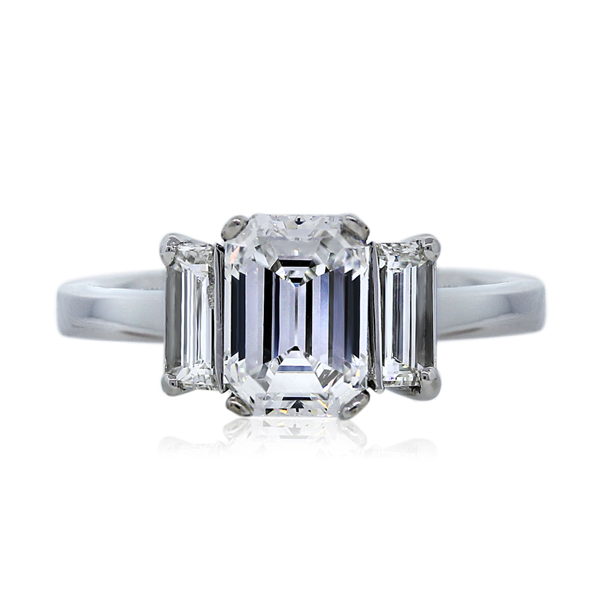 Three Stone Baguette and Emerald Cut Diamond Ring