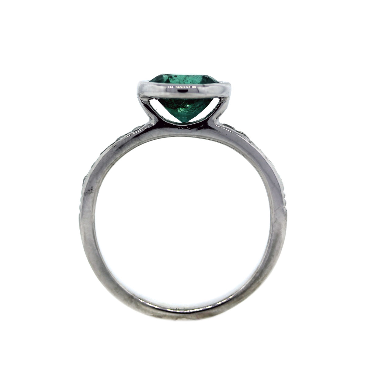 Pre Owned Diamond and Emerald Ring