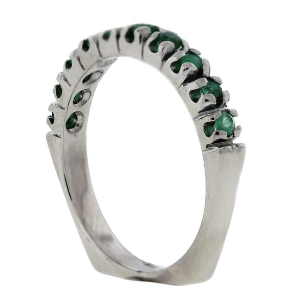 14K White Gold Emerald Band Ring side
