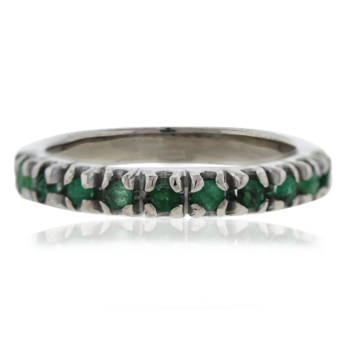 14K White Gold Emerald Band Ring