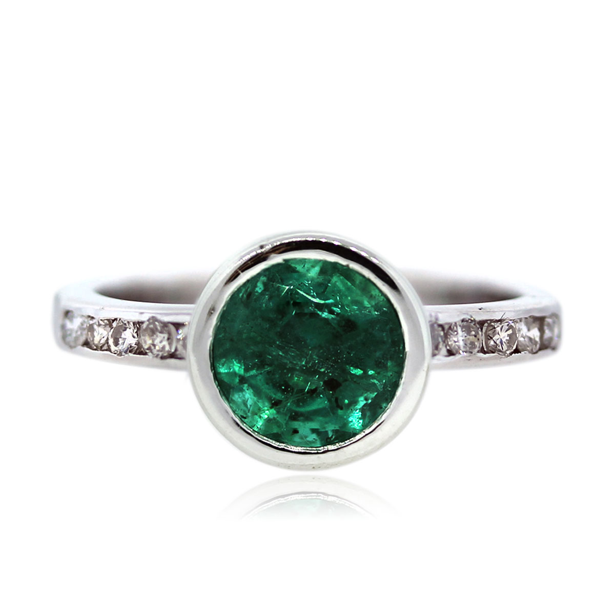 Bezel Set 14k White gold Emerald Ring